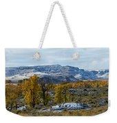 Snow Falls On Autumn Weekender Tote Bag