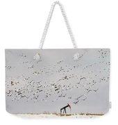 Snow Geese Over Oil Pump 02 Weekender Tote Bag by Rob Graham