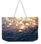 Snowy Winter Background With Fairy Lights. Weekender Tote Bag