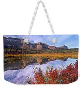Sofa Mountain Reflecteion, Waterton Weekender Tote Bag