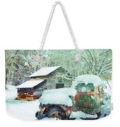 Softly Snowing On The Country Farm Weekender Tote Bag