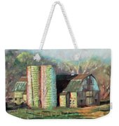 Spring On The Farm - Old Barn With Two Silos Weekender Tote Bag