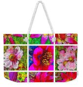 Stained Glass Pink Flower Collage  Weekender Tote Bag