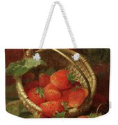 Still Life Of Strawberries With A Cabbage White Butterfly Weekender Tote Bag