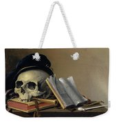 Still Life With Skull, Books, Flute And Pipe Weekender Tote Bag