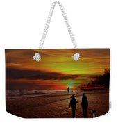 Strolling The Beach At Olon Weekender Tote Bag