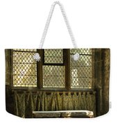 sunlight on linen fold altar in Trinity church York Weekender Tote Bag
