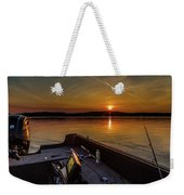 Sunset Fishing Dog Lake Weekender Tote Bag