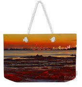 Sunset On The Still Frozen Upper Niagara River Weekender Tote Bag