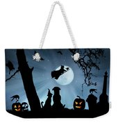 Super Cute Halloween Night With Dog And Cat Weekender Tote Bag