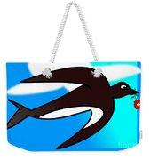 Swallow Flying With Flower In Its Beak Weekender Tote Bag