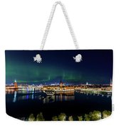 Swirly Aurora Over Stockholm And Gamla Stan Weekender Tote Bag