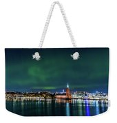 Swirly Aurora Over The Stockholm City Hall And Kungsholmen Weekender Tote Bag