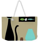 Tabletop Cat With Turquoise Lamp Weekender Tote Bag by Donna Mibus