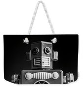 Take Me To Your Leader Vintage Tin Toy Robot Black And White Weekender Tote Bag