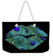 Teal Peacock Lips Kissing Mouth Fashion Art Weekender Tote Bag