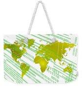 Tech Worldmap With Binary Code Weekender Tote Bag