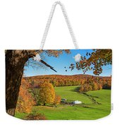 Tending To The Farm Woodstock Vermont Vt Vibrant Autumn Foliage Yellow And Orange Weekender Tote Bag