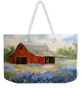 Texas Blue Bonnets And Red Barn Weekender Tote Bag