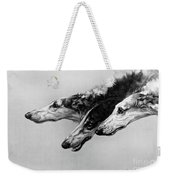 The Borzois, Black And White Sketch, 3 Russian Wolfhounds Weekender Tote Bag