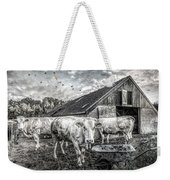 The Cows Came Home Black And White Weekender Tote Bag