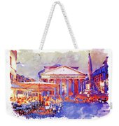 The Pantheon Rome Watercolor Streetscape Weekender Tote Bag
