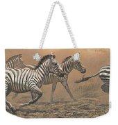The Race - Zebras Weekender Tote Bag by Alan M Hunt