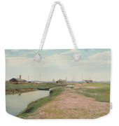 The River And The Harbour At Frederiksvaerk Weekender Tote Bag