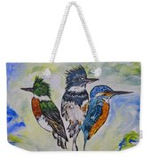 Three Kingfisher Birds - Painting By Ella Weekender Tote Bag