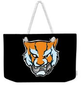 Tiger Head Bitting Beer Can Orange Weekender Tote Bag