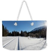 Tire Tracks In Snow In An Isolated Area Of The Kenai Peninsula Weekender Tote Bag