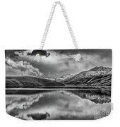 Topaz Lake Winter Reflection, Black And White Weekender Tote Bag