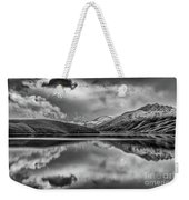 Topaz Lake Winter Reflection, Black And White Weekender Tote Bag