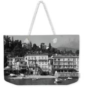 Town In The Shore Of Lake Como In Black And White Weekender Tote Bag