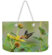 Tufted Coquette Feeds On Sunflowers Weekender Tote Bag by Rachel Lee Young