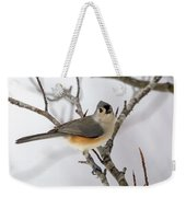 Tufted Titmouse Winter Tranquility Weekender Tote Bag