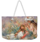 Two Children Seated Among Flowers, 1900 Weekender Tote Bag