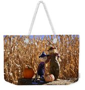 Two Cute Scarecrows With Pumpkins In The Dry Corn Field Weekender Tote Bag