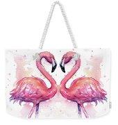Two Flamingos In Love Watercolor Weekender Tote Bag