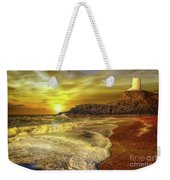 Twr Mawr Lighthouse Sunset Weekender Tote Bag by Adrian Evans