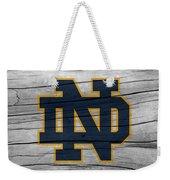 University Of Notre Dame Fighting Irish Logo On Rustic Wood Weekender Tote Bag