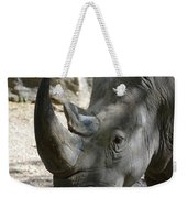 Up Close Look At The Face Of A Rhinoceros Weekender Tote Bag