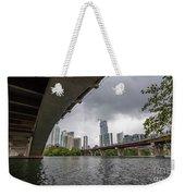 Urban Skyline Of Austin Buildings From Under Bridge With Stormy  Weekender Tote Bag