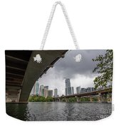 Urban Skyline Of Austin Buildings From Under Bridge With Stormy  Weekender Tote Bag