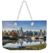 Vancouver Skyline In Autumn Weekender Tote Bag by Andy Konieczny