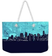 Vancouver Skyline Map Turquoise Weekender Tote Bag