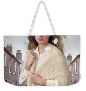 Victorian Woman On A Cobbled Terraced Street Weekender Tote Bag