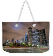 View Of Chicago Skyscrappers With Busy Street In The Foreground Weekender Tote Bag