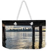 View Of Downtown Seattle At Sunset From Under A Pier Weekender Tote Bag