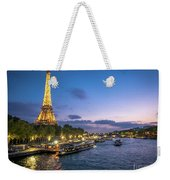 View Of The Eiffel Tower During Sunset From The Scene River Weekender Tote Bag